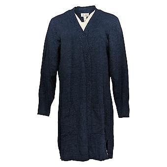 Denim & Co. Women's Sweater Petite Marled Open-Front Cardigan Blue A381050