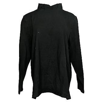 Denim & Co. Women's Top Perfect Jersey Mock Neck Long-Sleeve Black A389884