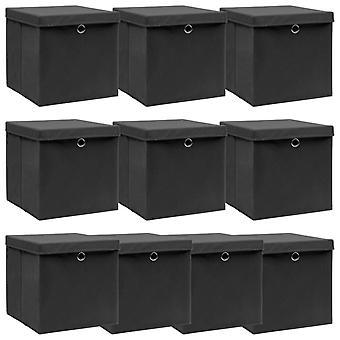 vidaXL ящики для хранения с крышкой 10 шт. черный 32×32×32 см ткань