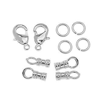 Beadalon Lås Set, Hummer lås / Öppen hoppring / Loop Crimp passar 2mm sladd, 2 uppsättningar, silverton
