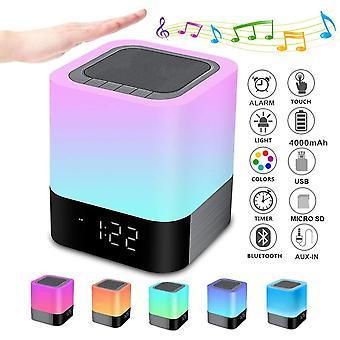 Bluetooth reproduktor nočné svetlo dotyk RGB farba meniace SA LED Bluetooth reproduktor Budík Nočné svetlo Prenosné nočné lampy Budík Darček pre dospievajúce dievča, Chlapci, Deti (Biela)
