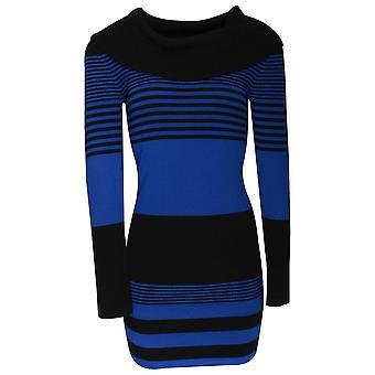 Frank Lyman lang strikket blå strippet tunika med cowlen krage