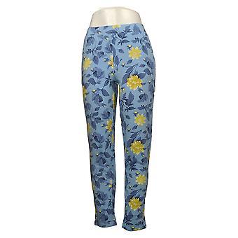 Denim &Co. Pantalon pour femmes Actif Imprimé Français Terry Slim Bleu A34732