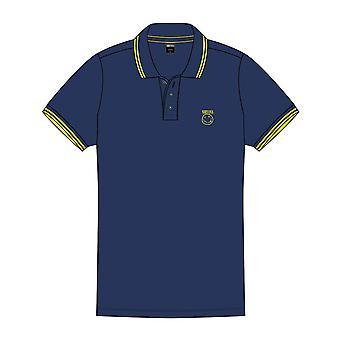 Nirvana Polo T Shirt Smiley Face Band Logo new Official Mens Navy Blue