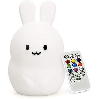 Led Nursery Night Lights For Kids -usb Rechargeable Animal Silicone Lamps With Touch Sensor And Remote Control (bunny)