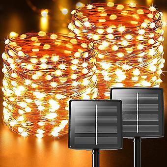 [2 Stück] Solar Lichterkette Aussen, 22M 220 LED Solar Lichterkette Außen Solar Lichterkette Solar