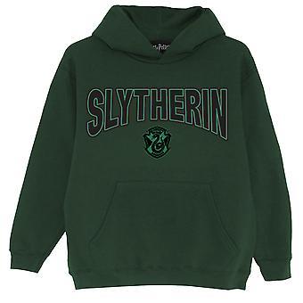 Officiella barn Harry Potter Hoodie Slytherin Shield Boys Girls Pullover Tröja