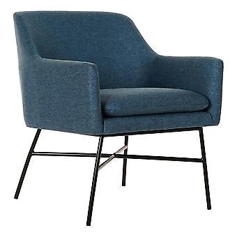 Fåtölj DKD Home Decor Blå Svart Polyester Metall (66 x 62 x 75 cm)