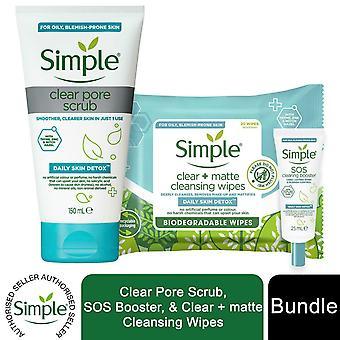 Simple Daily Skin Detox Pore Scrub 150ml, SOS Booster25ml & Nettoyage Lingettes 20pc