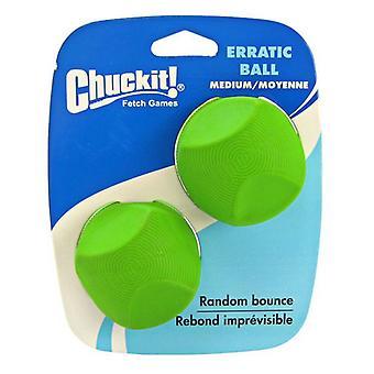 "Chuckit Erratic Ball for Dogs - Medium Ball - 2.25"" Diameter (2 Pack)"