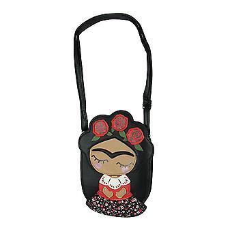 Bedårande svart vinyl Frida mexikansk kvinna med blomma krona crossbody väska