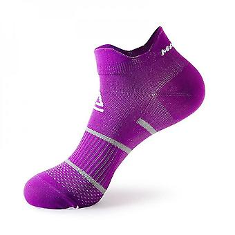 Purple 2 pack men's cushioned low-cut anti blister running and cycling socks mz898