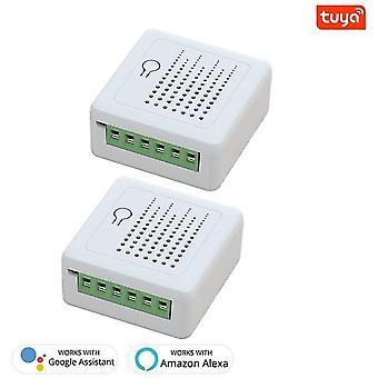 16A tuya wifi mini diy smart schalter led licht smart leben push modul unterstützung 2 wege voice relay timer