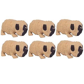 6buc Squishy Stretchy Pug Jucării Funny Stress Relief Jucării pentru copii