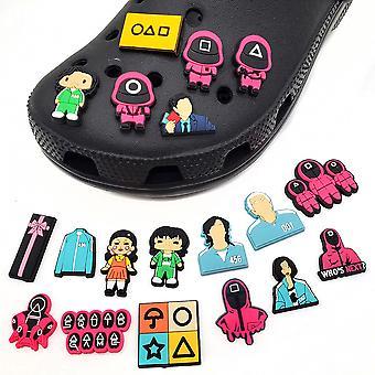 50pcs Kawaii Squid Game Shoe Charms Cute Kids Shoe Buckle Accessories Toys