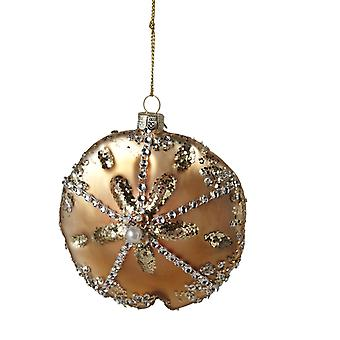 Sand Dollar Glass Encrusted Christmas Holiday Ornament