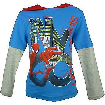 Los chicos maravillan Spiderman encapuchado | Top de manga larga