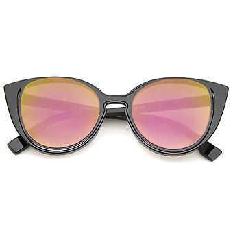 Women's Open Metal Insert Colored Mirror Lens Cat Eye Sunglasses 51mm