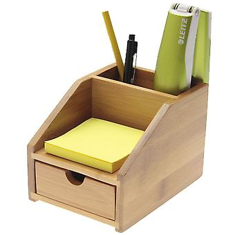 Woodquail Bamboo Small Desk Stationary Organiser with Drawer