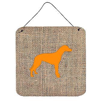 Greyhound jute en oranje Aluminium metalen wand of deur hangen Prints BB1086