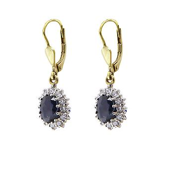 Bicolor sapphires and diamonds earrings