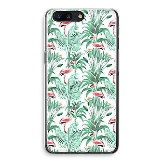 OnePlus 5 Transparant Case (Soft) - Flamingo leaves
