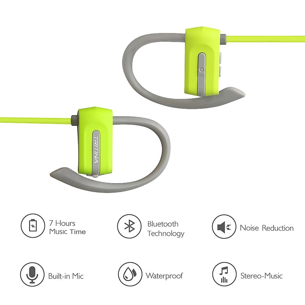 Tritina Sports Headphone in-Ear - Sweatproof Bluetooth Earphones w/ Mic - Comfortable Secure Fit Design Earbuds - HD Stereo Noise Cancelling for Gym Fitness Running Workout