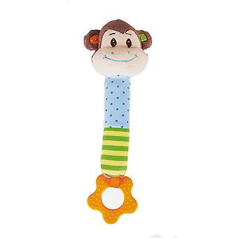 Bigjigs Toys Soft Plush Cheeky Monkey Squeaker Rattle Toy Sensory Development