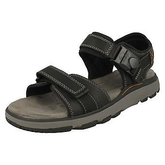 Herre Clarks afslappet Strapped sandaler FN Trek del - sort læder - UK størrelse 7,5 G - EU størrelse 41,5 - US størrelse 8,5 M