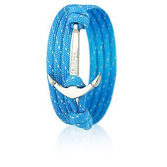 Light blue nylon anchor 6646 glitter skipper anchor bracelet with silver