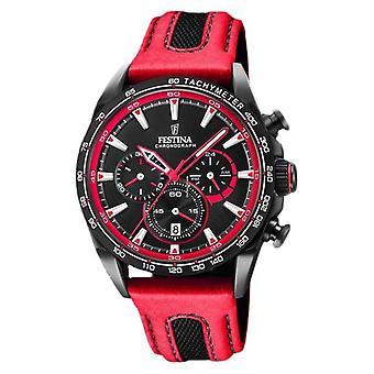 Festina Mens Sport Cronografo cuoio rosso cinturino nero quadrante F20351/6