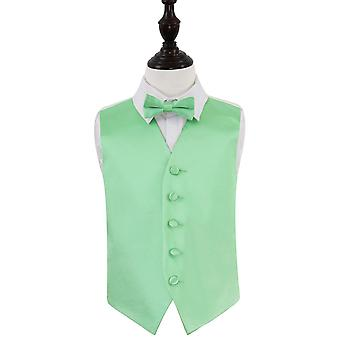 Mint Green Plain Satin Wedding Vest & Bow Tie Set voor jongens