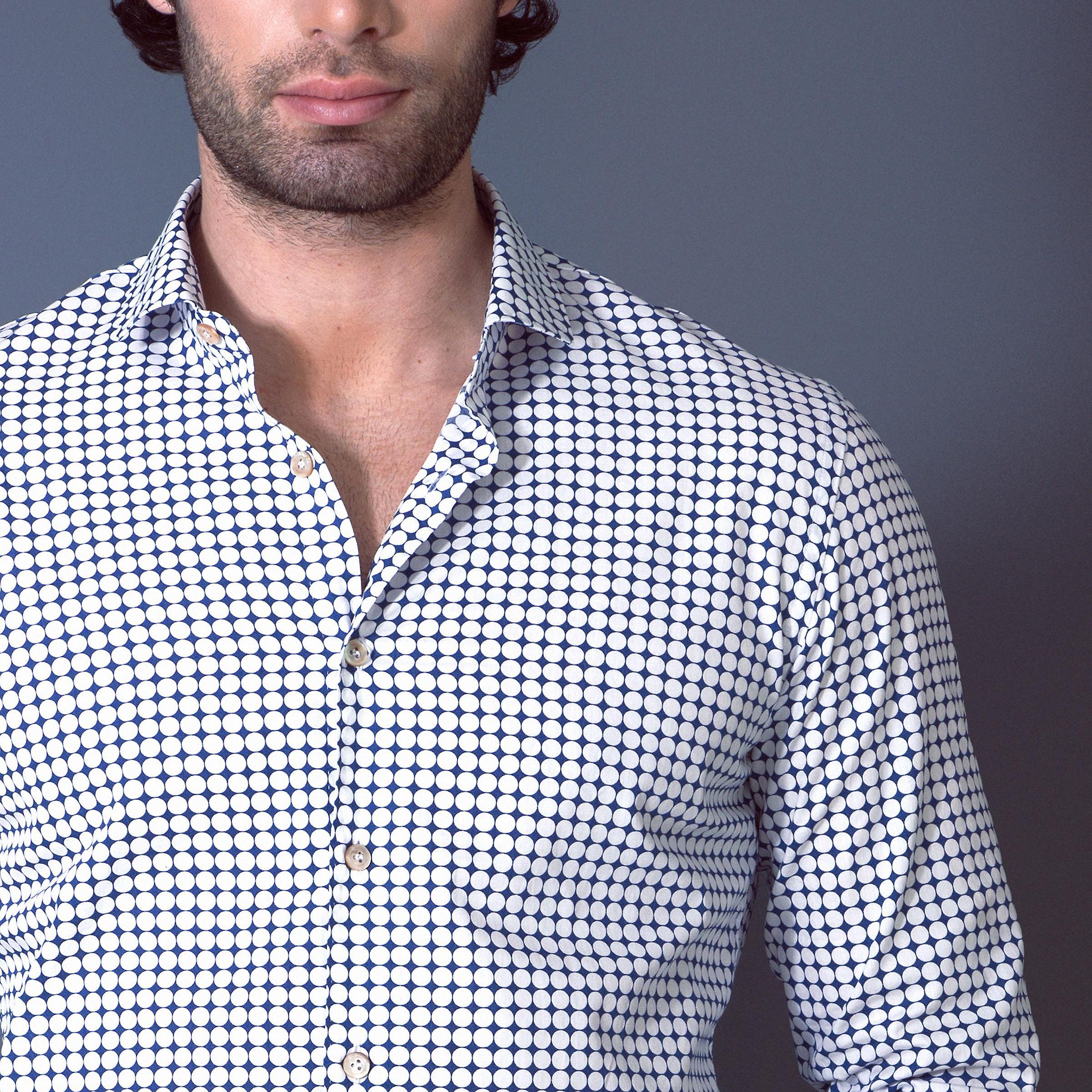 Fabio Giovanni Marsala Shirt - Mens Italian Casual Polka Dot Stylish Shirt - Long Sleeve
