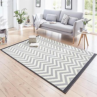 Designer velour carpet Meridian black grey cream