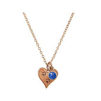 GEMSHINE Halskette Pfotenabdruck, Hund, Katze Saphir 925 Silber, vergoldet, rose