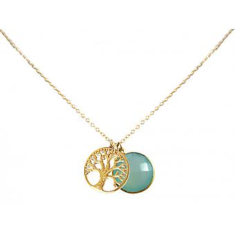 925 Silver gold plated ladies - necklace - pendants - tree of life - - chalcedony - sea green - 45 cm