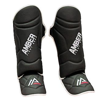 Amber Sports Training Læder MMA Instep Shin Guards Beskyttende Sort- XL