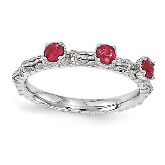 2.5mm 925 Sterling Silver Polished Prong set Stackable Expressions Created Ruby Three Stone Ring Jewely Gifts for Women