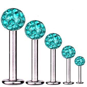 Labret Baari korvankansi lävistyksiä titaani 1,6 mm, Multi Crystal Ball Aqua | 5 - 16 mm