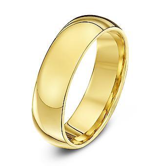 Star Wedding Rings 18ct Yellow Gold Heavy Court Shape 6mm Wedding Ring