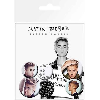 Justin Bieber Badge Pack celem portret Logo Mix Oficjalna 4 x 25mm & 2 x 32mm