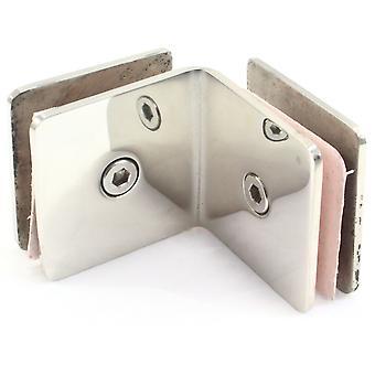 Di Vapor 90 graders rostfritt stål glas till glas hörnet Clamp fäste för duschpanel eller balustrad | 8mm till 10mm glas