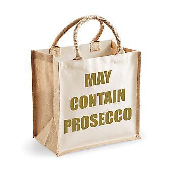 Medium Natural Gold Jute Bag May Contain Prosecco