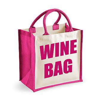 Středně růžová jutový sáček na víno