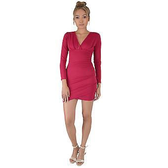 Lovemystyle Long Sleeve Hot Pink Wrap Plunge Dress - SAMPLE