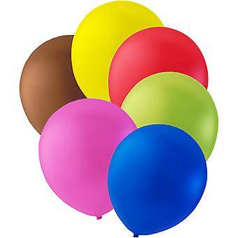 """12-P balloons Brown, yellow, red, green, pink and blue-12 """"(30cm)"""