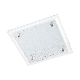 Eglo - Chrome Priola & structuré verre LED carré plafond lumineux EG94447