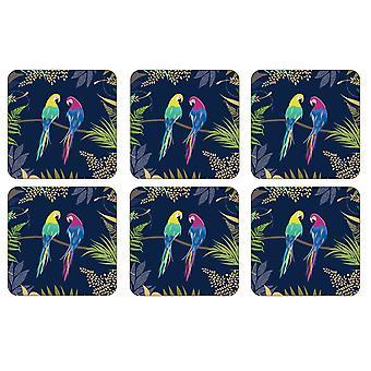 Sara Miller Parrot Coasters, Set of 6