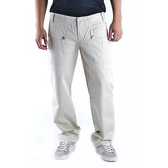 Bikkembergs Ezbc101004 Men's Beige Cotton Pants