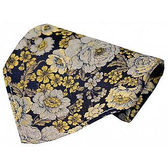 Posh and Dandy Floral Silk Handkerchief - Gold/Navy/Silver